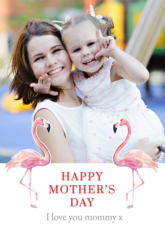 Create a Photo Mother's Day Card Flamingos Photo Card