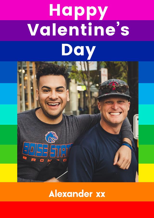 Create a Valentine's Rainbow Stripes Photo Card