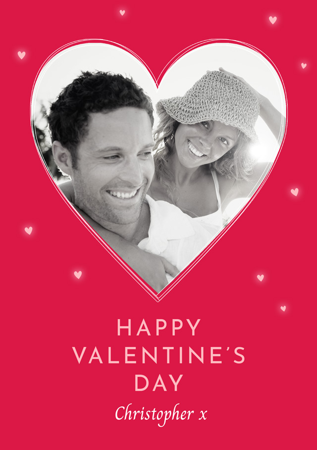 Create a Photo Card Valentines Single Red Heart Photo Card