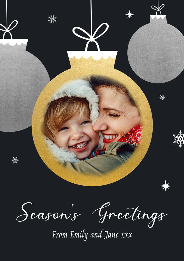 Create a Photo Christmas Card Gold Bauble Photo Card
