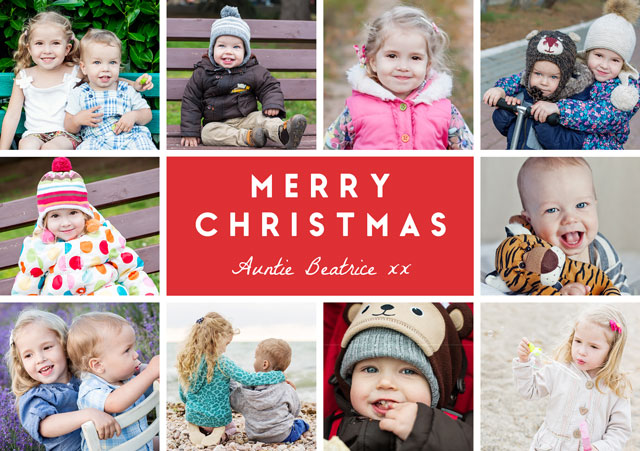 Create a Photo Christmas Card Collage 10 Square Photos Photo Card