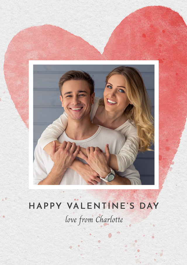 Create a Photo Card Valentines Watercolour Heart Photo Card