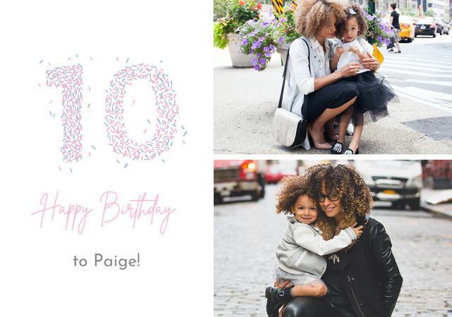 Create a Photo Card Birthday Milestone 10 Sprinkles Collage Photo Card