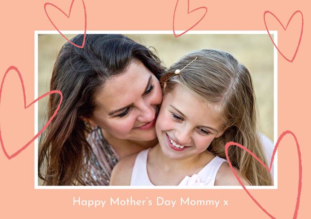 Photo Mother's Day Card Glitter Hearts