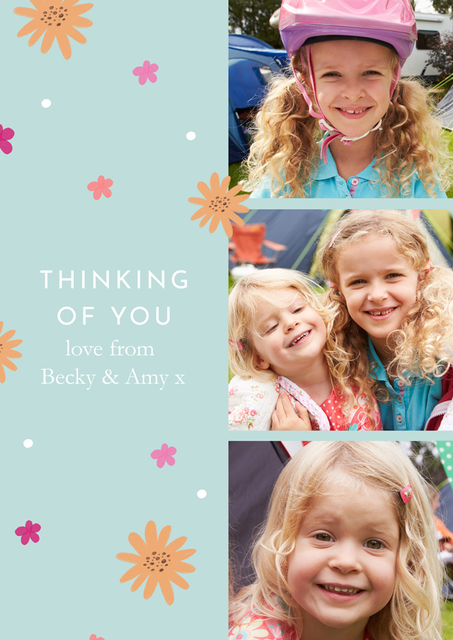 Create a Photo Thinking Of You Card Collage Flowers Portrait Photo Card