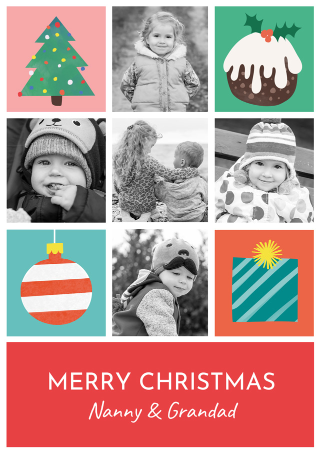 Create a Photo Christmas Card Collage Illustrations Portrait Photo Card