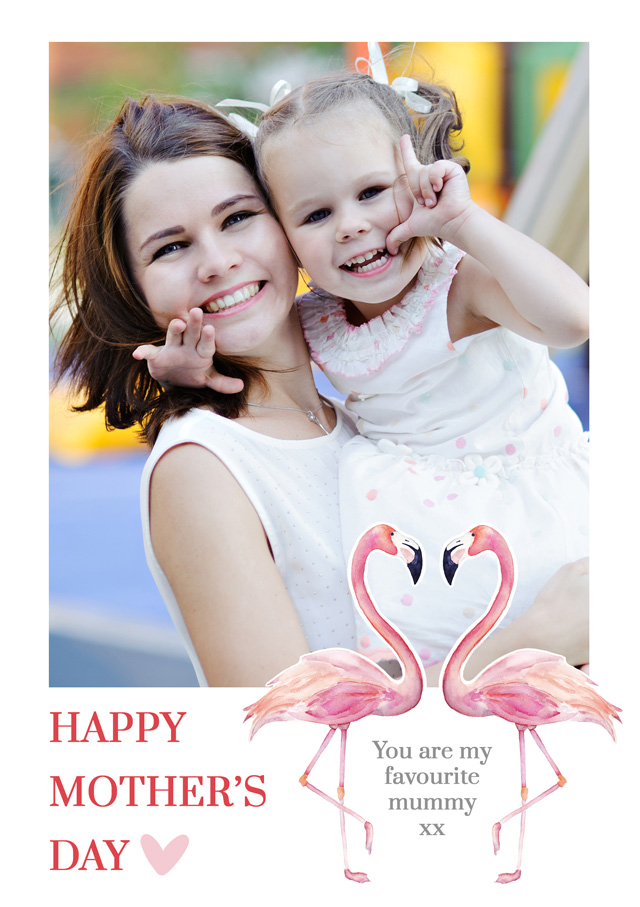 Create a Mother's Day Flamingos Greeting Card