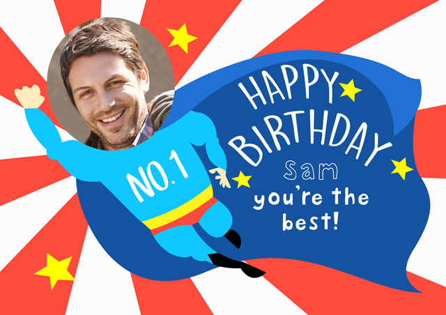 Create a Super Man Happy Birthday  Photo Card