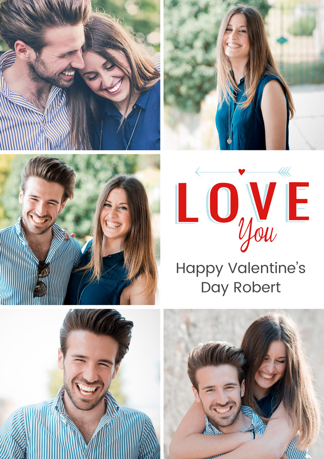 Create a Photo Card Valentines Love You Portrait Photo Card