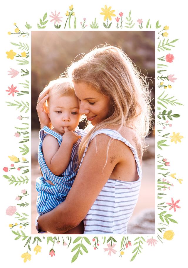 Create a Photo Card Wild Flower Border Portrait Photo Card