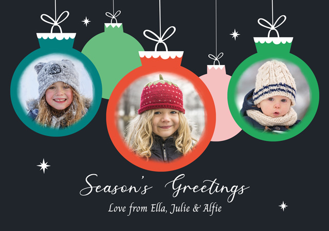 Create a Photo Christmas Card Collage Three Baubles Photo Card
