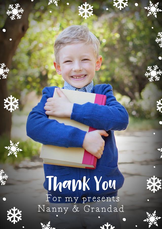 Photo Thank You Card Snowflakes