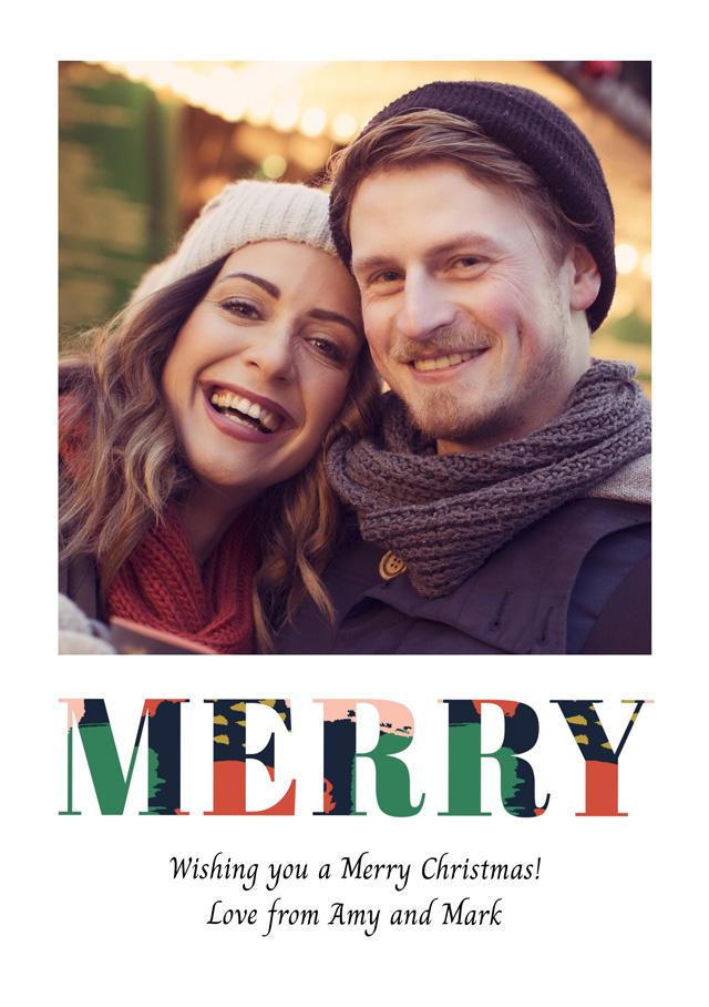 Create a Photo Christmas Card Merry Portrait Photo Card