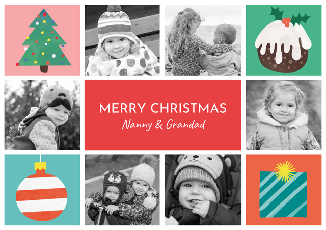 Create a Photo Christmas Card Collage Illustrations Landscape X 6 Photos Greeting Card