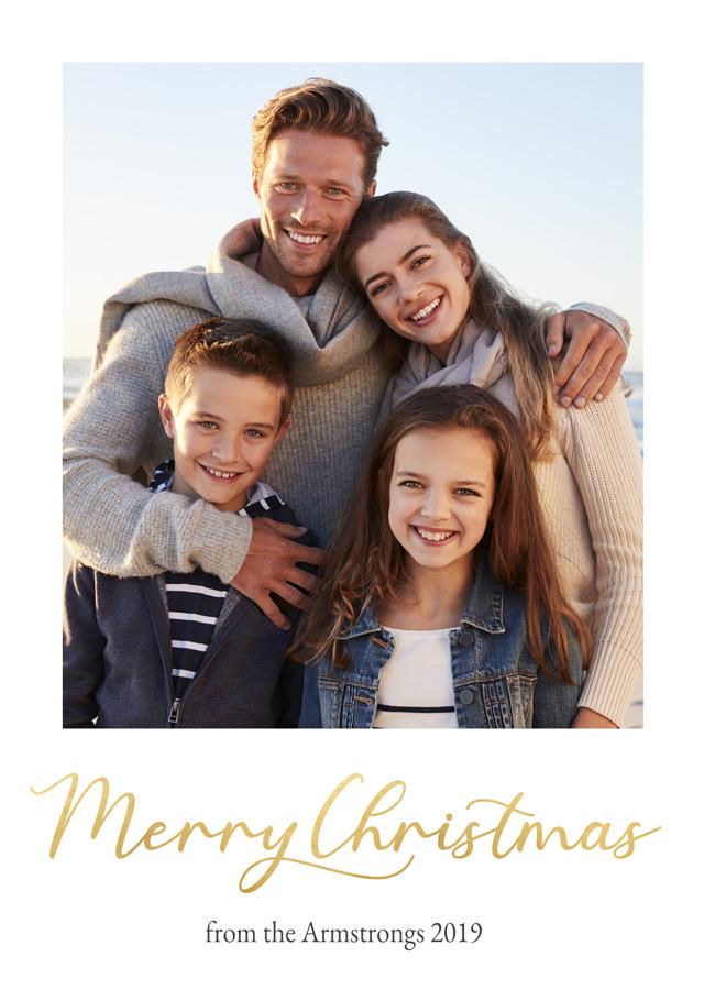 Create a Photo Christmas Card Christmas Script Portrait Photo Card