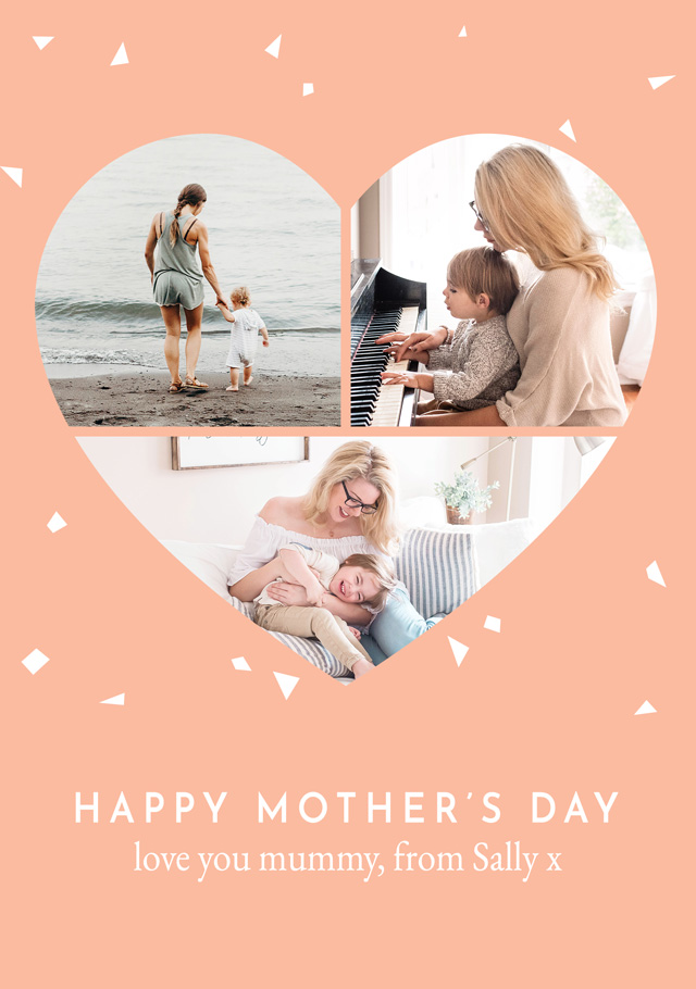 Create a Photo Mother's Day Card Heart Collage Photo Card