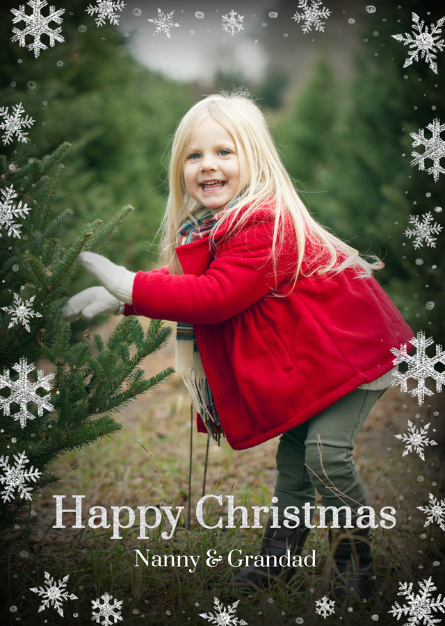 Create a Photo Christmas Card Snowflakes Portrait Photo Card