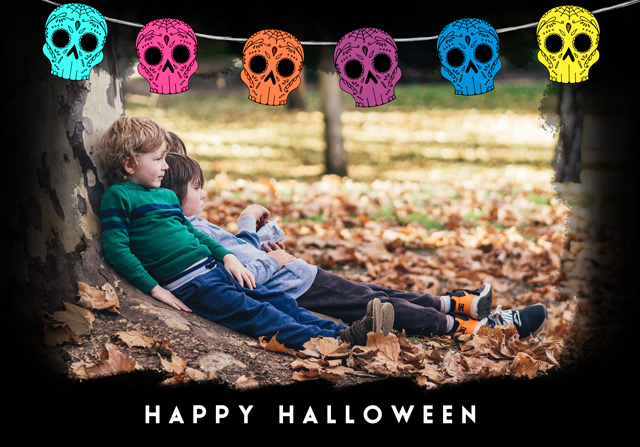 Create a Day Of The Dead Bunting Photo Card