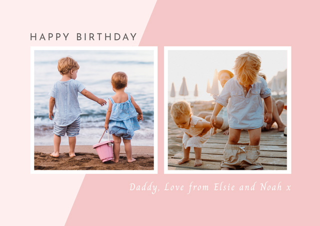 Create a Photo Birthday Card Collage Two Tone Photo Card