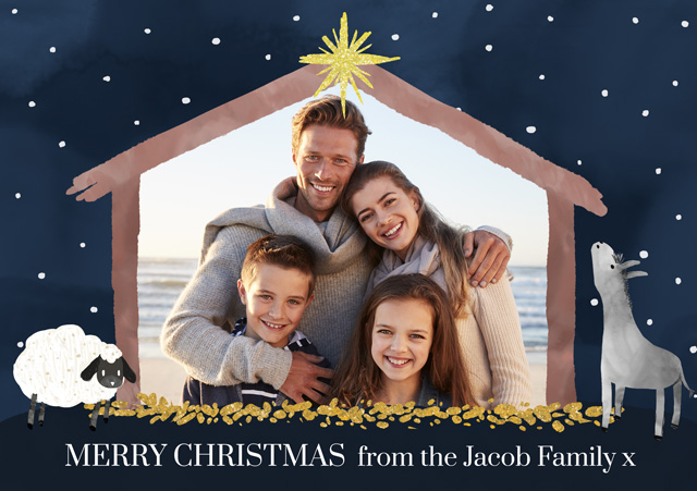 Create a Photo Christmas Card Stable Greeting Card