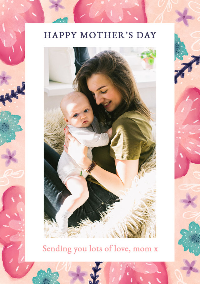 Create a Photo Mother's Day Card Portrait Flowers Photo Card