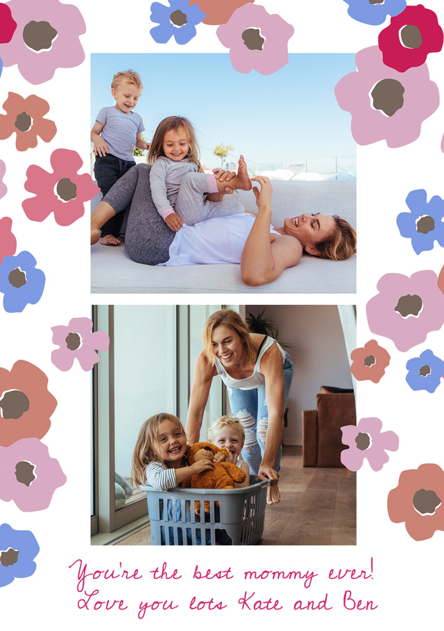 Create a Mother's Day Flowers And 3 Photos Usa Greeting Card