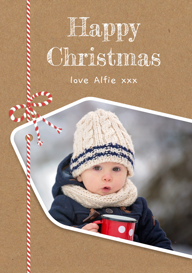 Create a Photo Christmas Card Present Tag Photo Card