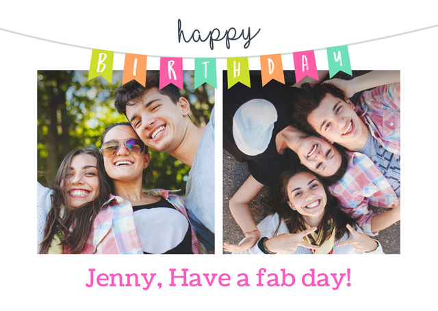 Create a Birthday Bunting Older Photo Card