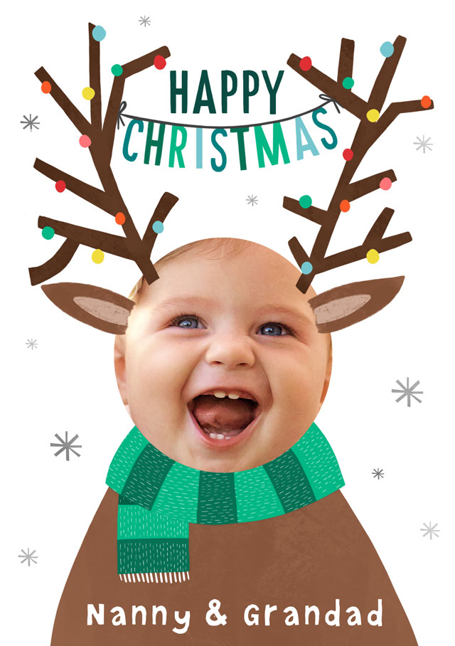 Create a Photo Christmas Card Happy Christmas Antlers Photo Card