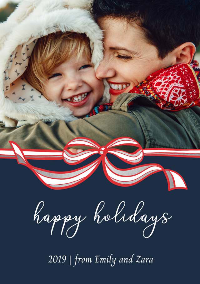 Create a Photo Christmas Card Red And White Bow Greeting Card
