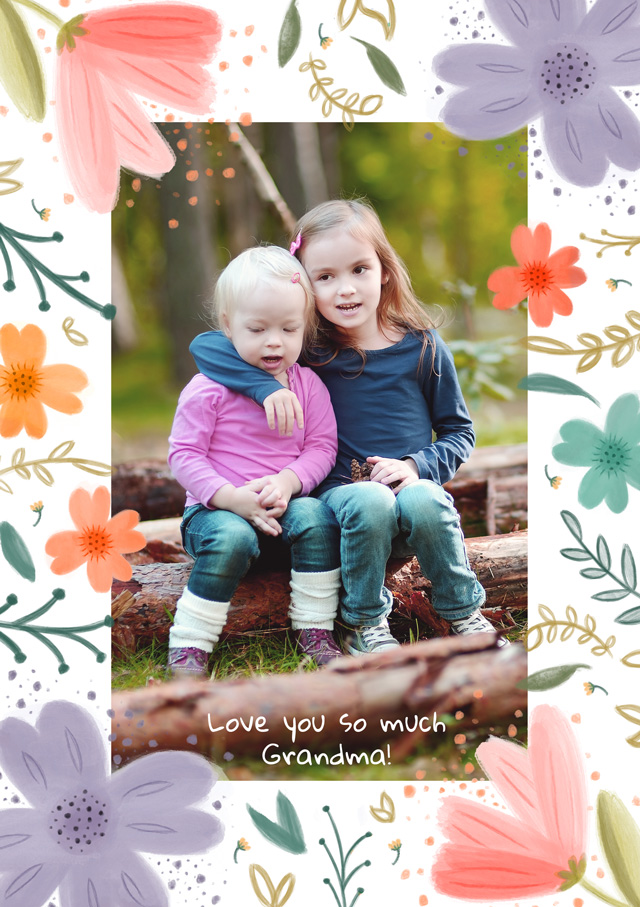 Create a Photo Thinking Of You Card Floral Border Photo Card