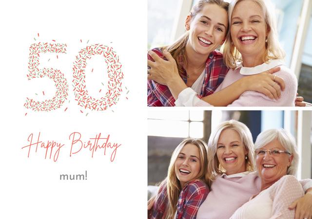 Create a Photo Card Birthday Milestone 50 Sprinkles Collage Photo Card