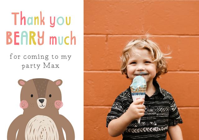 Create a Thank Photo Thank You Card Bear Photo Card
