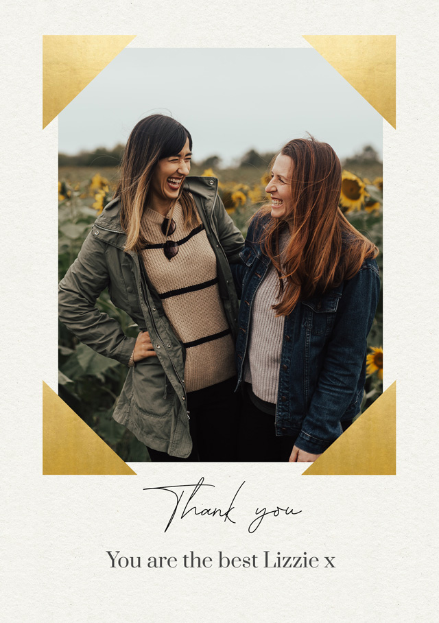 Create Photo Thank You Card Foil Corners Card