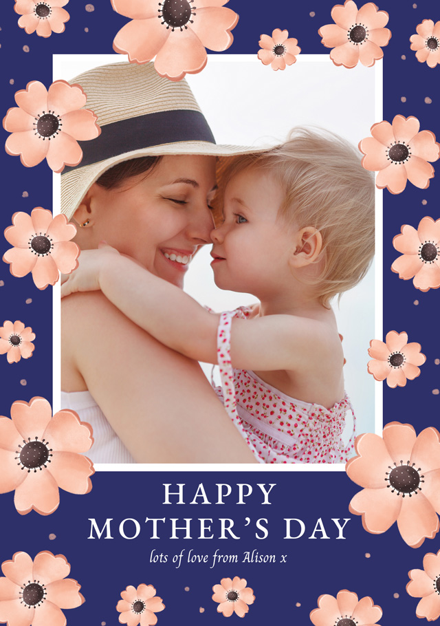 Create Photo Mother's Day Card Pink Flowers Card