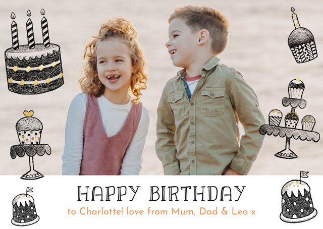Photo Birthday Card Cakes Pencil Drawings