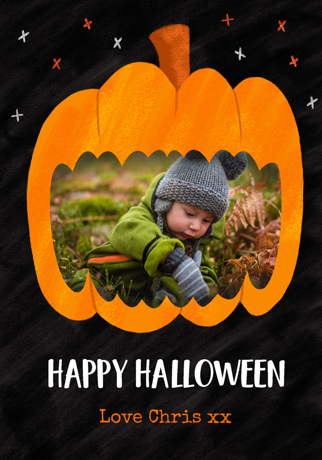 Create a Pumpkin Halloween Photo Card