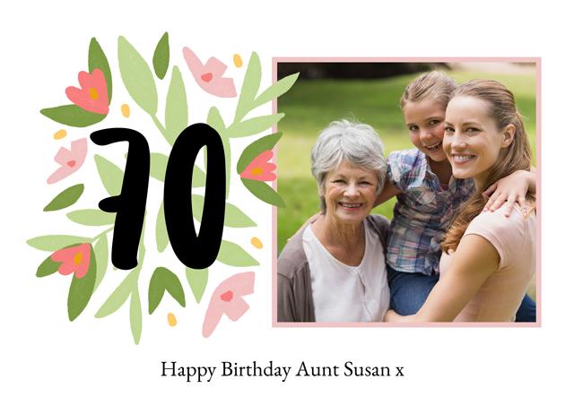 Create a Photo Card Milestone Birthday Floral 70 Photo Card