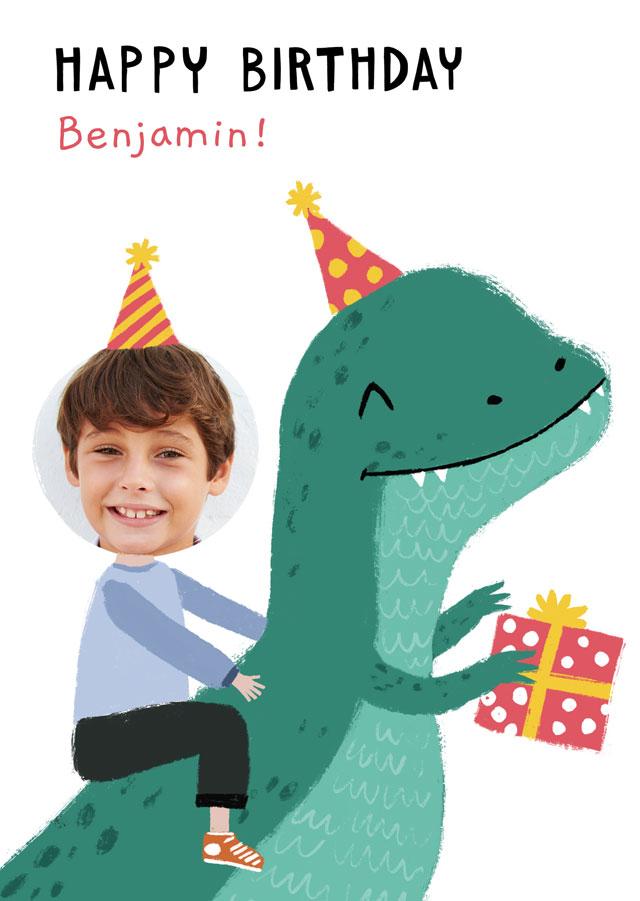 Create a Photo Birthday Card Dinosaur Photo Card