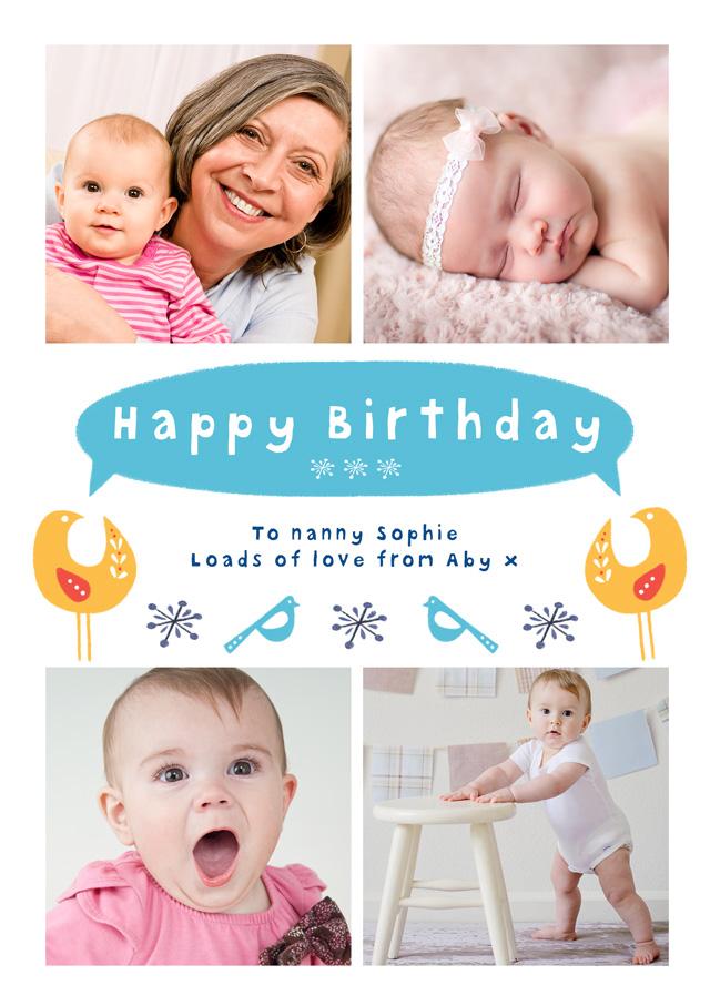 Create a Birthday Birds Photo Card