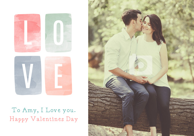 Photo Card Valentines Watercolour Love