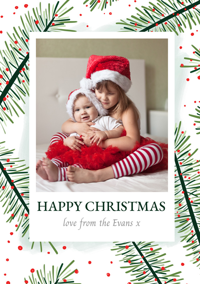 Create Photo Christmas Card Festive Yew Card