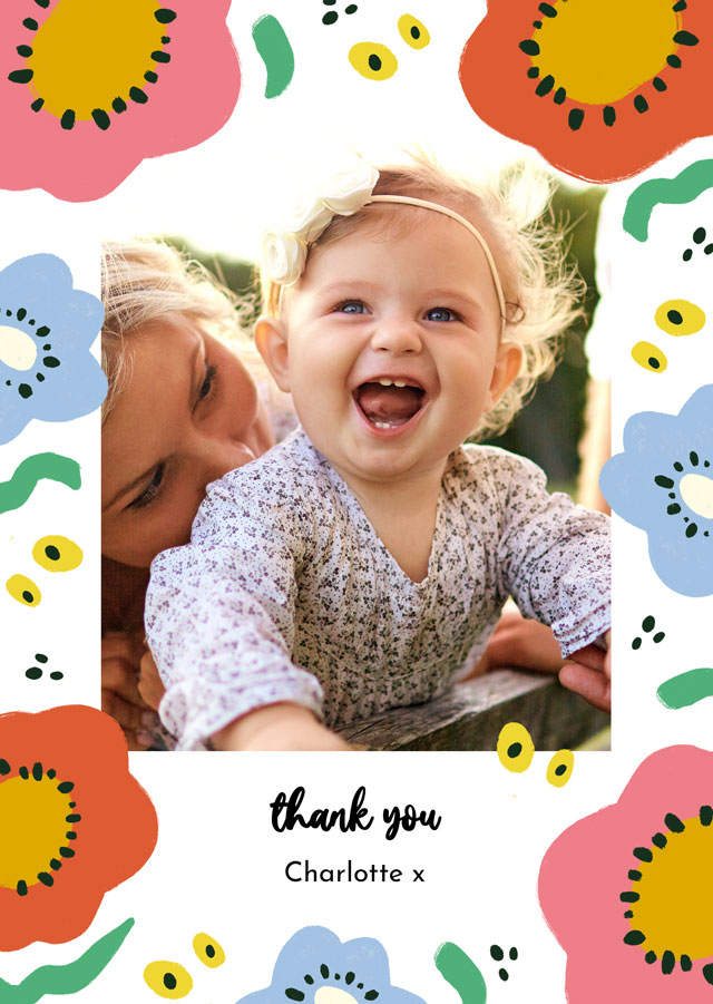 Create Photo Thank You Card Abstract Flowers Card