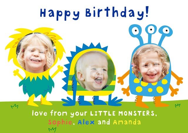 Create a Birthday Monster X3 Greeting Card