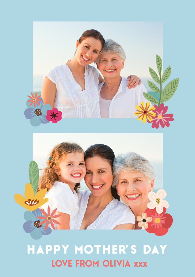 Create a Happy Mother's Day Flowers 2x Collage Photo Card