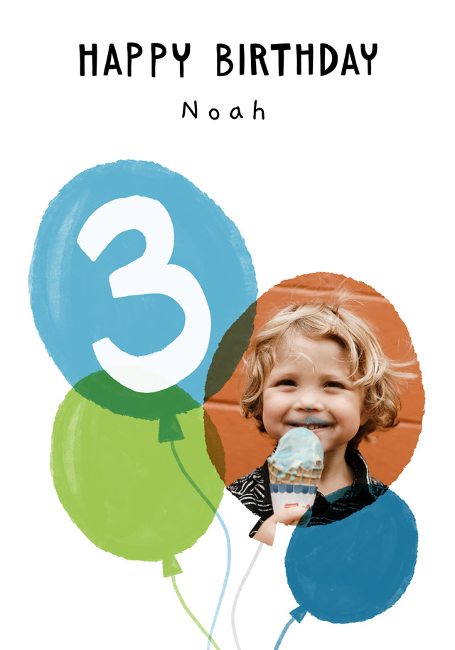 Photo Birthday Card Balloon Milestone 3