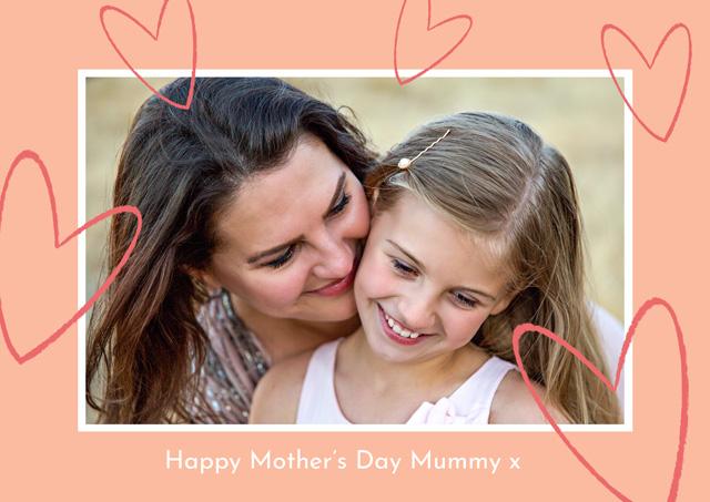 Create a Photo Mother's Day Card Glitter Hearts Photo Card