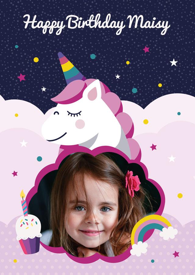 Create a Birthday Unicorn Photo Card