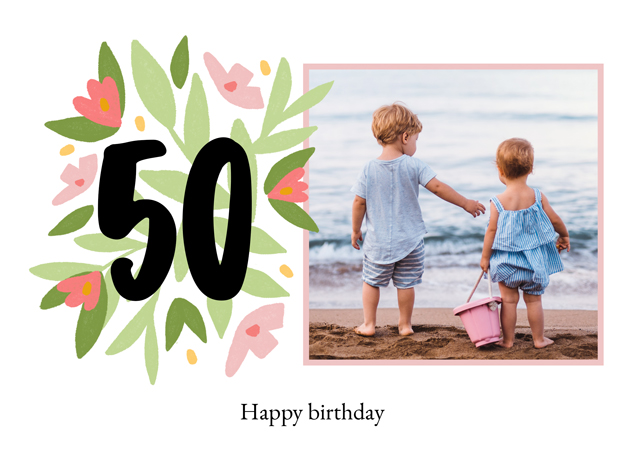 Create a Photo Card Milestone Birthday Floral 50 Photo Card