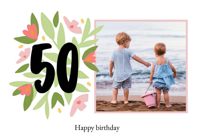 Photo Card Milestone Birthday Floral 50